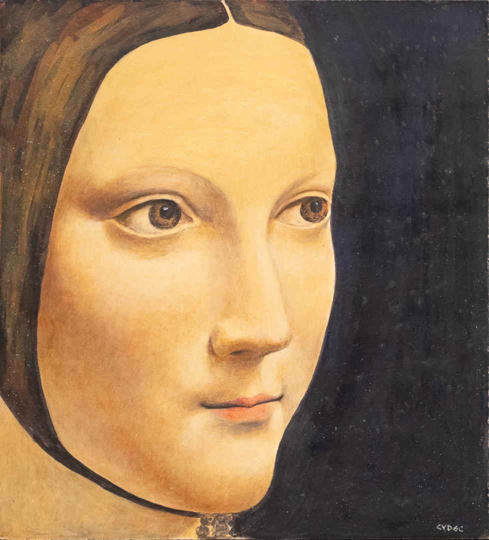 """<em>Copy of Leonardo Da Vinci's """"Lady with Ermine""""</em>, 8x7"""""""