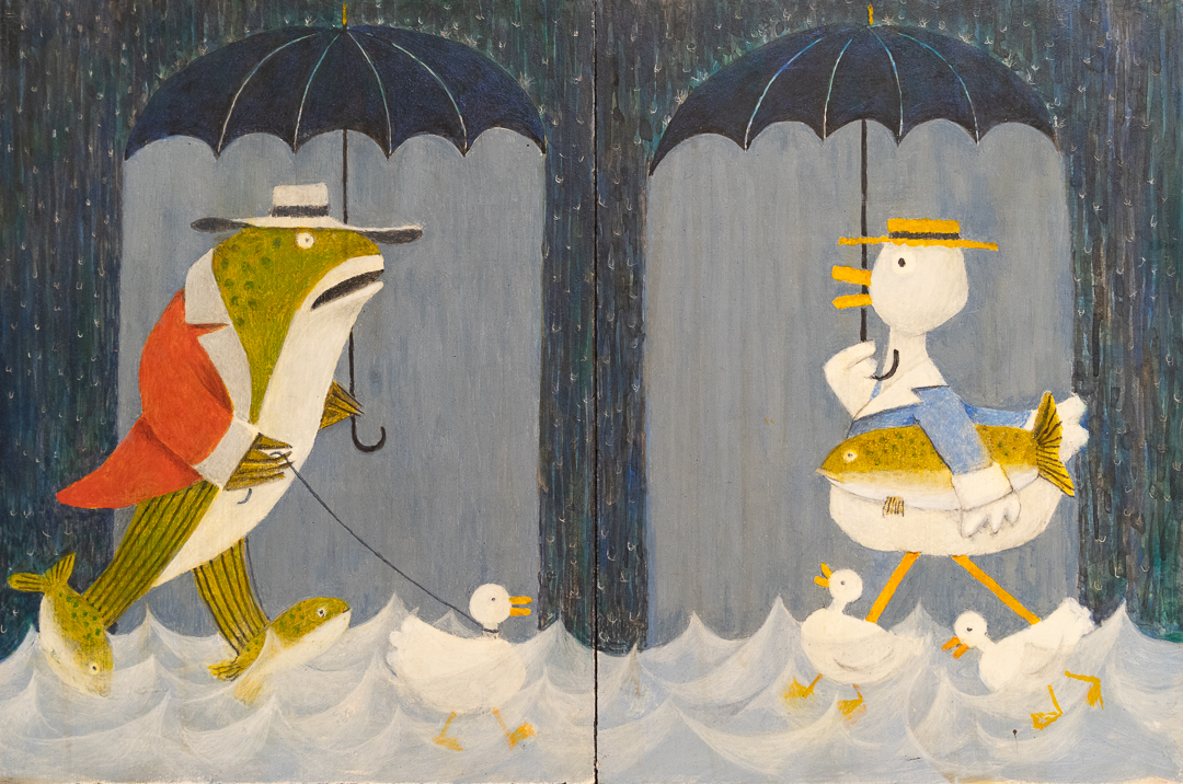 "<em>Mr. Fish meets Mrs. Goose</em>, 8x12"" (two 6x8"" panels)"
